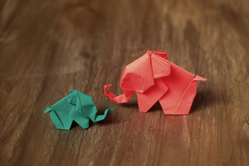 Origami elephants (who knew elephants could be so tiny?!). Photo by Neenah Paper on Flickr